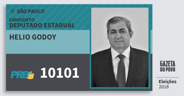 Santinho Helio Godoy 10101 (PRB) Deputado Estadual   São Paulo   Eleições 2018