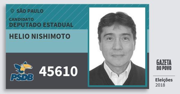 Santinho Helio Nishimoto 45610 (PSDB) Deputado Estadual | São Paulo | Eleições 2018
