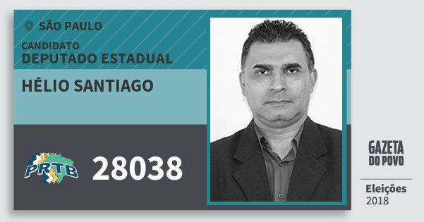 Santinho Hélio Santiago 28038 (PRTB) Deputado Estadual | São Paulo | Eleições 2018