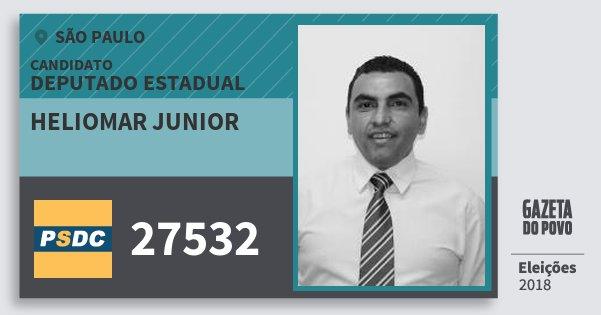 Santinho Heliomar Junior 27532 (DC) Deputado Estadual | São Paulo | Eleições 2018