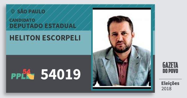 Santinho Heliton Escorpeli 54019 (PPL) Deputado Estadual | São Paulo | Eleições 2018