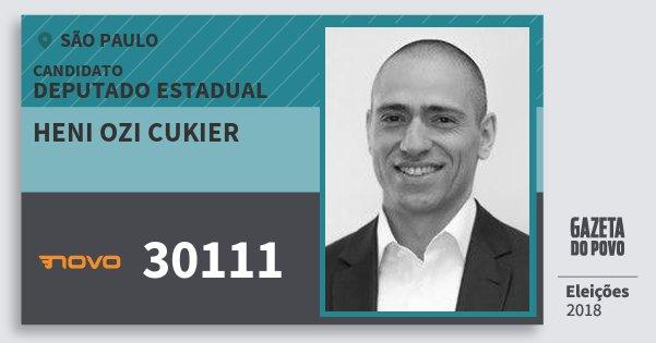 Santinho Heni Ozi Cukier 30111 (NOVO) Deputado Estadual | São Paulo | Eleições 2018