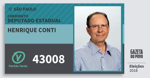 Santinho Henrique Conti 43008 (PV) Deputado Estadual | São Paulo | Eleições 2018