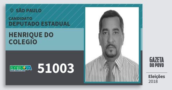 Santinho Henrique do Colegio 51003 (PATRI) Deputado Estadual | São Paulo | Eleições 2018