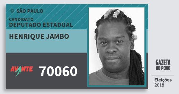 Santinho Henrique Jambo 70060 (AVANTE) Deputado Estadual | São Paulo | Eleições 2018