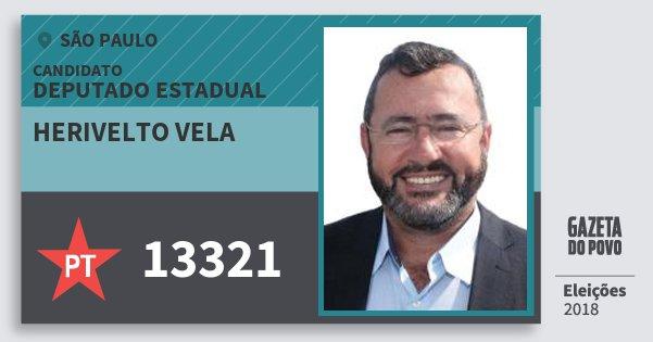 Santinho Herivelto Vela 13321 (PT) Deputado Estadual | São Paulo | Eleições 2018
