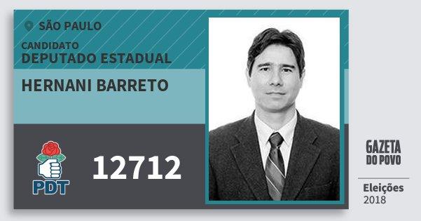 Santinho Hernani Barreto 12712 (PDT) Deputado Estadual | São Paulo | Eleições 2018