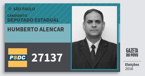Santinho Humberto Alencar 27137 (DC) Deputado Estadual | São Paulo | Eleições 2018