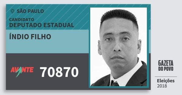 Santinho Índio Filho 70870 (AVANTE) Deputado Estadual | São Paulo | Eleições 2018