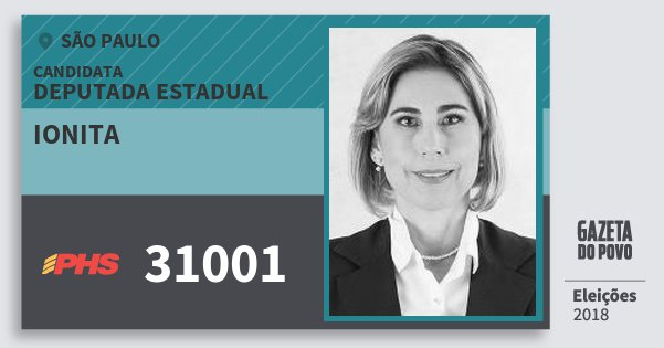 Santinho Ionita 31001 (PHS) Deputada Estadual | São Paulo | Eleições 2018