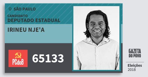 Santinho Irineu Nje'a 65133 (PC do B) Deputado Estadual | São Paulo | Eleições 2018