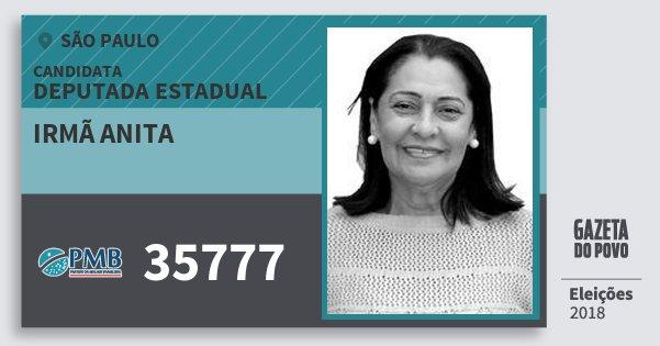 Santinho Irmã Anita 35777 (PMB) Deputada Estadual | São Paulo | Eleições 2018