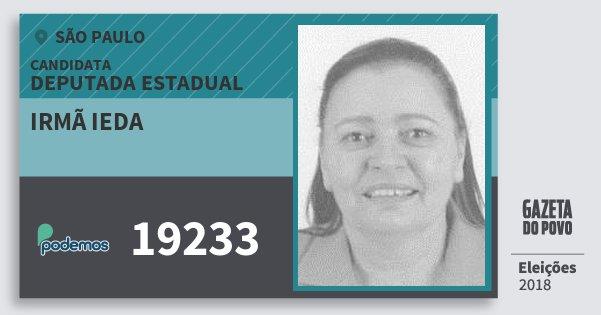 Santinho Irmã Ieda 19233 (PODE) Deputada Estadual | São Paulo | Eleições 2018