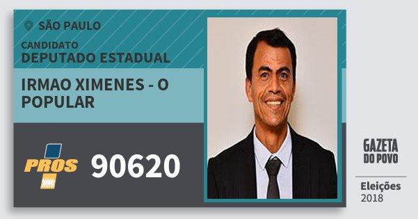 Santinho Irmao Ximenes - O Popular 90620 (PROS) Deputado Estadual | São Paulo | Eleições 2018