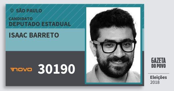 Santinho Isaac Barreto 30190 (NOVO) Deputado Estadual | São Paulo | Eleições 2018