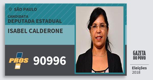 Santinho Isabel Calderone 90996 (PROS) Deputada Estadual | São Paulo | Eleições 2018