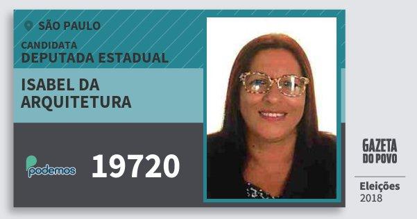 Santinho Isabel da Arquitetura 19720 (PODE) Deputada Estadual | São Paulo | Eleições 2018
