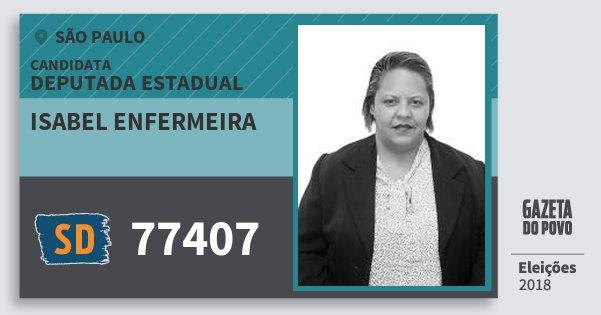 Santinho Isabel Enfermeira 77407 (SOLIDARIEDADE) Deputada Estadual | São Paulo | Eleições 2018