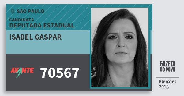 Santinho Isabel Gaspar 70567 (AVANTE) Deputada Estadual | São Paulo | Eleições 2018