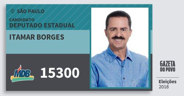 Santinho Itamar Borges 15300 (MDB) Deputado Estadual | São Paulo | Eleições 2018
