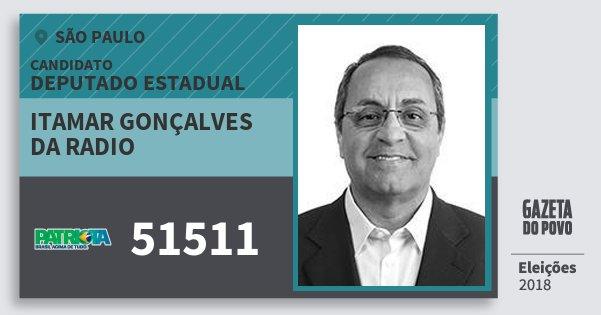 Santinho Itamar Gonçalves da Radio 51511 (PATRI) Deputado Estadual | São Paulo | Eleições 2018