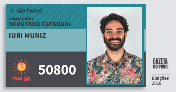 Santinho Iuri Muniz 50800 (PSOL) Deputado Estadual | São Paulo | Eleições 2018