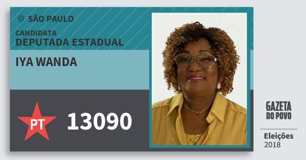 Santinho Iya Wanda 13090 (PT) Deputada Estadual | São Paulo | Eleições 2018