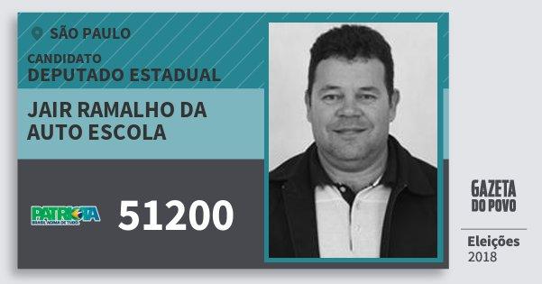 Santinho Jair Ramalho da Auto Escola 51200 (PATRI) Deputado Estadual | São Paulo | Eleições 2018