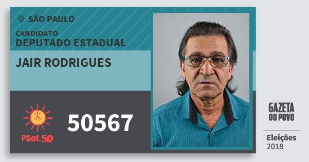 Santinho Jair Rodrigues 50567 (PSOL) Deputado Estadual | São Paulo | Eleições 2018