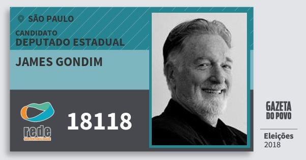 Santinho James Gondim 18118 (REDE) Deputado Estadual | São Paulo | Eleições 2018