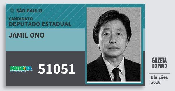 Santinho Jamil Ono 51051 (PATRI) Deputado Estadual   São Paulo   Eleições 2018