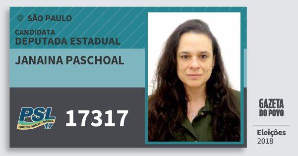 Santinho Janaina Paschoal 17317 (PSL) Deputada Estadual | São Paulo | Eleições 2018