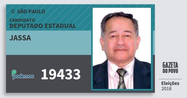 Santinho Jassa 19433 (PODE) Deputado Estadual | São Paulo | Eleições 2018