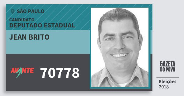 Santinho Jean Brito 70778 (AVANTE) Deputado Estadual | São Paulo | Eleições 2018