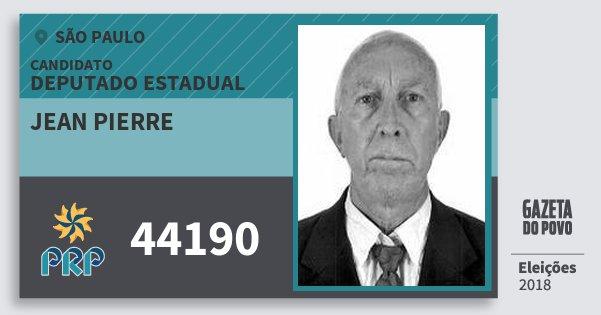 Santinho Jean Pierre 44190 (PRP) Deputado Estadual | São Paulo | Eleições 2018