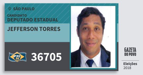 Santinho Jefferson Torres 36705 (PTC) Deputado Estadual | São Paulo | Eleições 2018