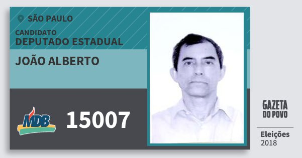 Santinho João Alberto 15007 (MDB) Deputado Estadual | São Paulo | Eleições 2018