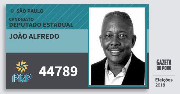 Santinho João Alfredo 44789 (PRP) Deputado Estadual | São Paulo | Eleições 2018