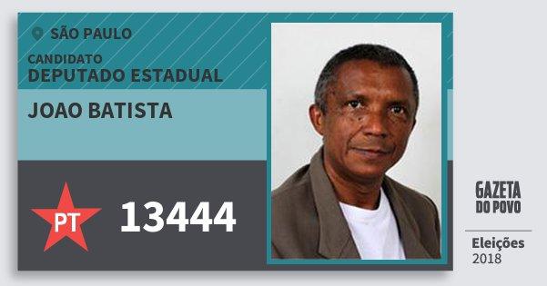 Santinho Joao Batista 13444 (PT) Deputado Estadual | São Paulo | Eleições 2018