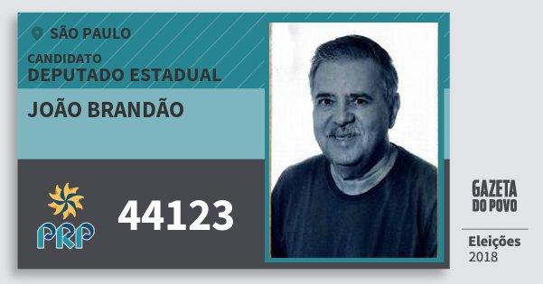 Santinho João Brandão 44123 (PRP) Deputado Estadual | São Paulo | Eleições 2018