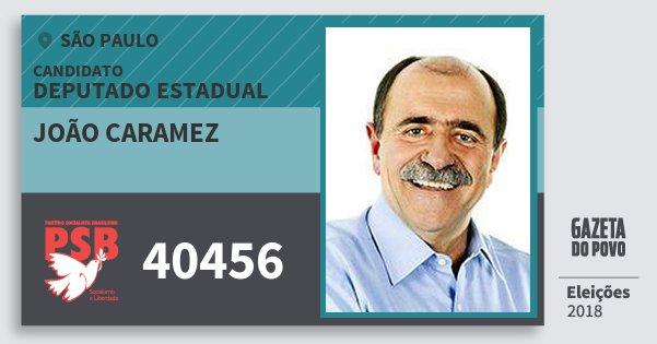 Santinho João Caramez 40456 (PSB) Deputado Estadual | São Paulo | Eleições 2018