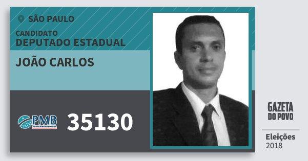 Santinho João Carlos 35130 (PMB) Deputado Estadual | São Paulo | Eleições 2018