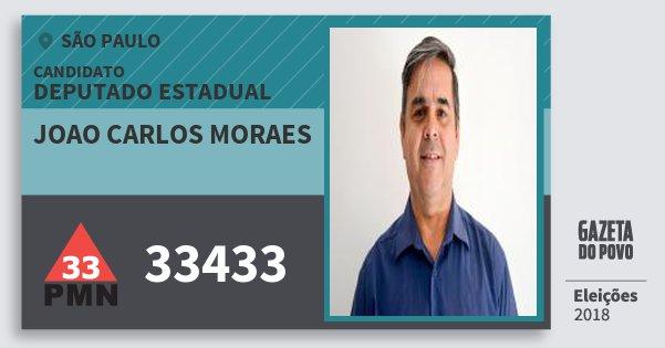 Santinho Joao Carlos Moraes 33433 (PMN) Deputado Estadual | São Paulo | Eleições 2018