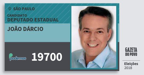 Santinho João Dárcio 19700 (PODE) Deputado Estadual   São Paulo   Eleições 2018