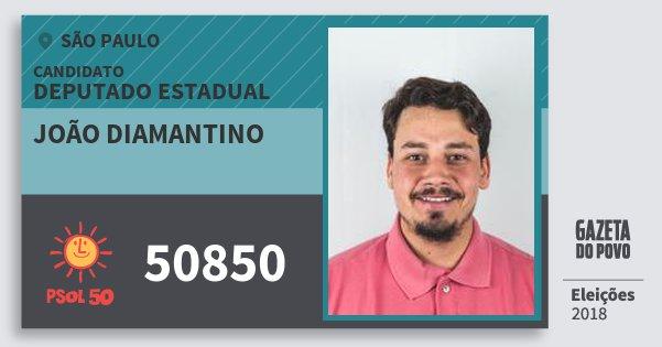 Santinho João Diamantino 50850 (PSOL) Deputado Estadual | São Paulo | Eleições 2018