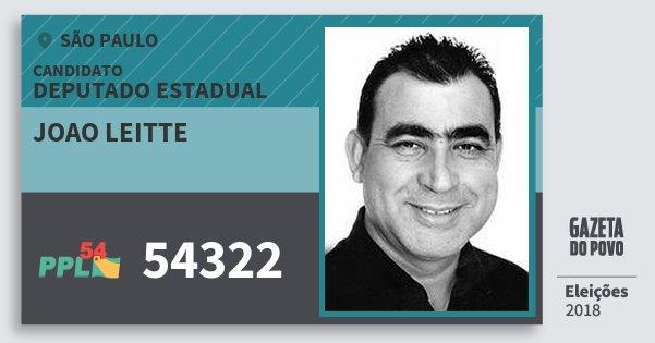 Santinho Joao Leitte 54322 (PPL) Deputado Estadual | São Paulo | Eleições 2018
