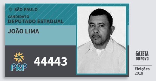 Santinho João Lima 44443 (PRP) Deputado Estadual | São Paulo | Eleições 2018
