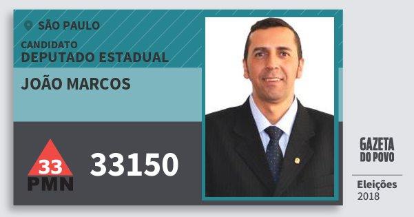 Santinho João Marcos 33150 (PMN) Deputado Estadual | São Paulo | Eleições 2018