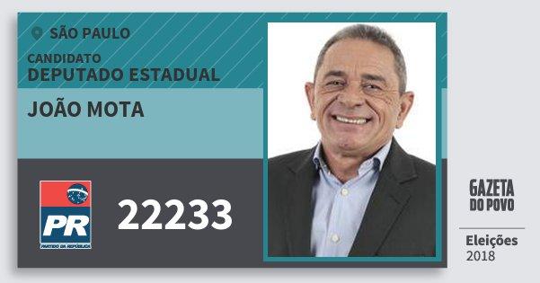 Santinho João Mota 22233 (PR) Deputado Estadual | São Paulo | Eleições 2018