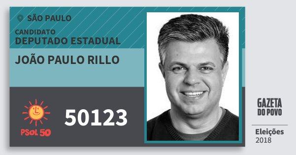 Santinho João Paulo Rillo 50123 (PSOL) Deputado Estadual | São Paulo | Eleições 2018